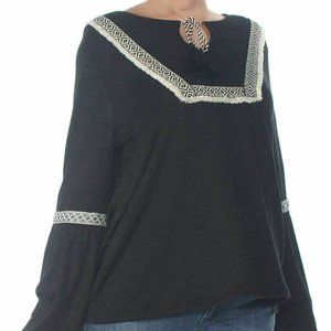 Style & Co Size XL Embroidered Trim Peasant Top